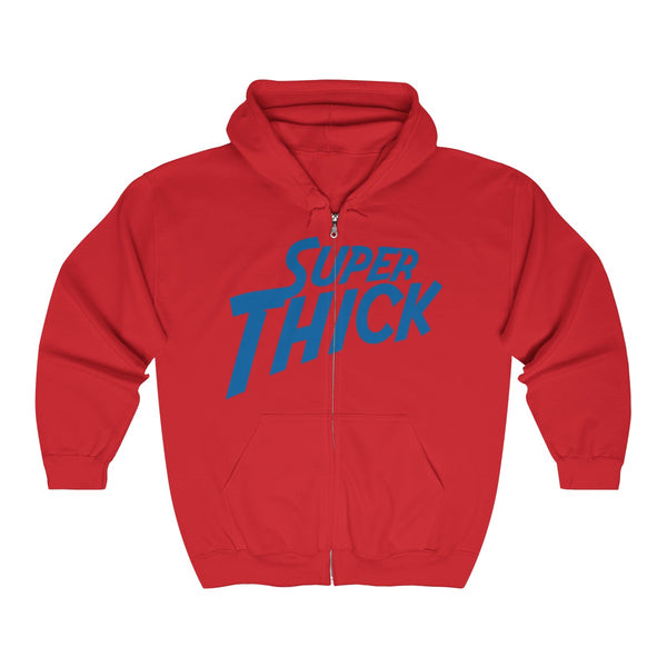 Super Thick with Blue Text - t-shirt Unisex Hooded Zip Hoodie