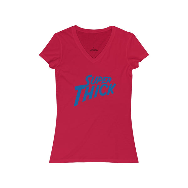 Women's Super Thick with Blue Text  - T-Shirts V-Neck T-Shirt