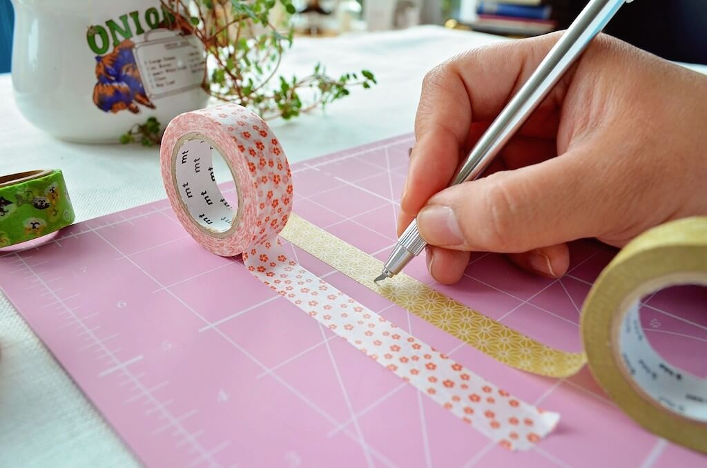 Cutting out the washi tape shapes
