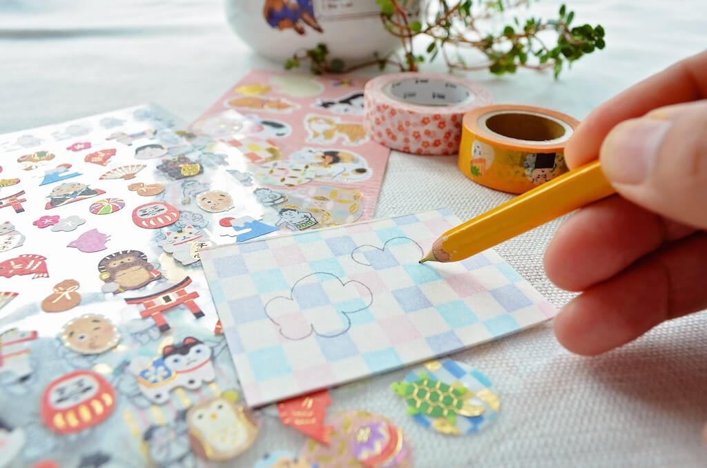 Drawing on washi sticky notes