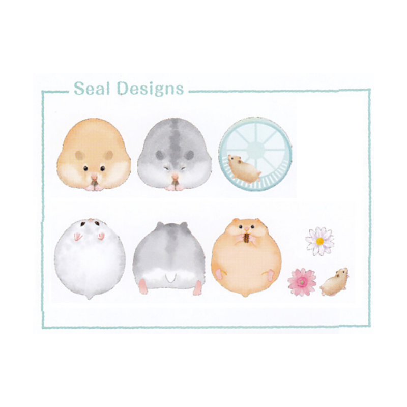 Kamio Japan - Round Animals - Hamster - Sticker Flakes