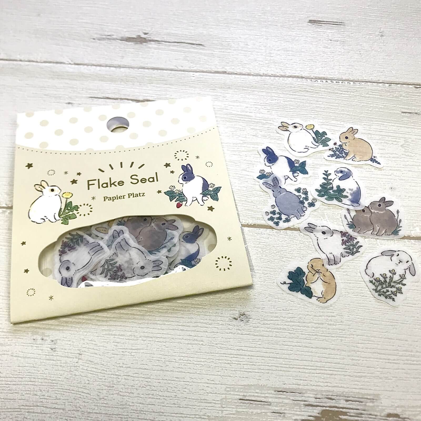 Rabbits and Wildflowers - Schinako Moriyama - Sticker Flakes