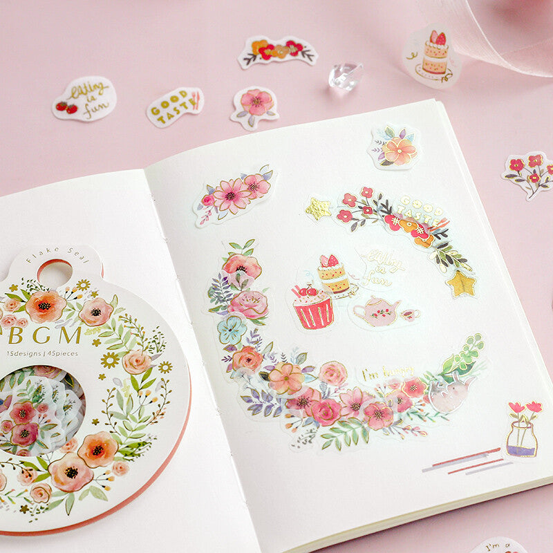Flower - Foiled Washi Sticker Flakes