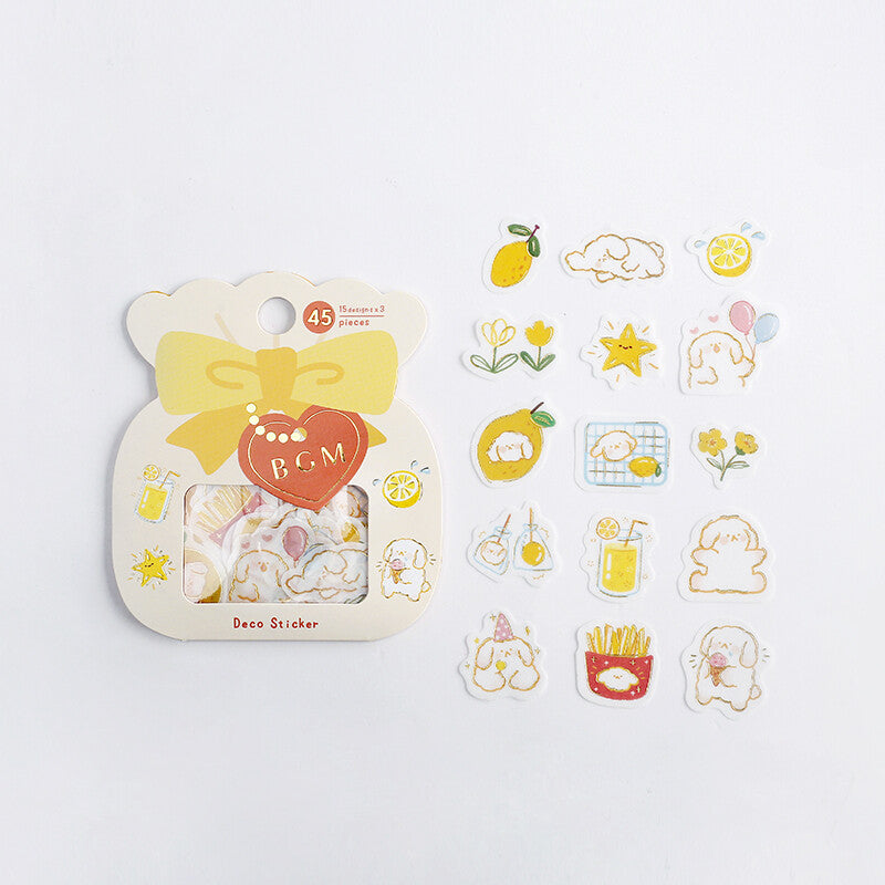 BGM - Lemon & Dog - Washi Sticker Flakes