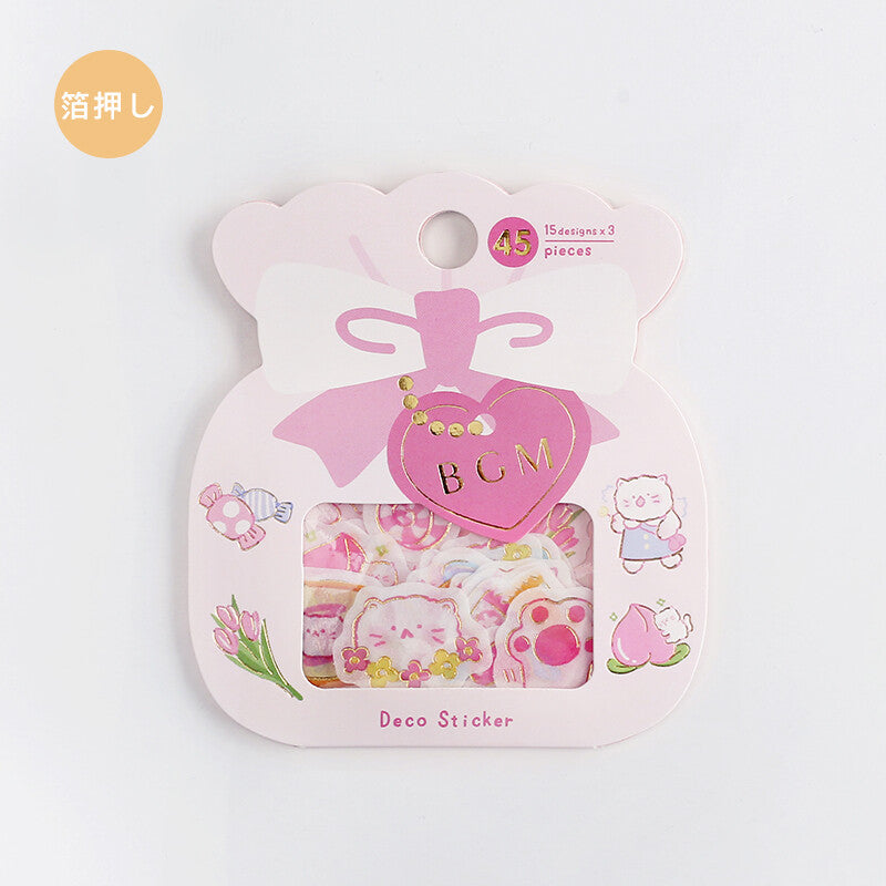 BGM - Peach & Cat - Washi Sticker Flakes
