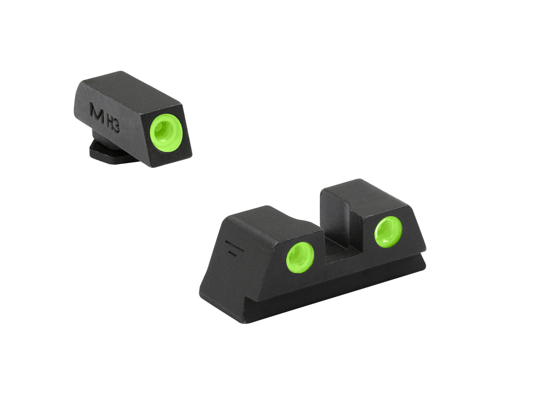 Meprolight Fixed Tru-Dot Night Sights for Glock models 17, 17L, 19, 22, 23, 24, 25, 31, 32, 33, 34, 35, 36, 37, 38, 39 - SharpShooter Optics