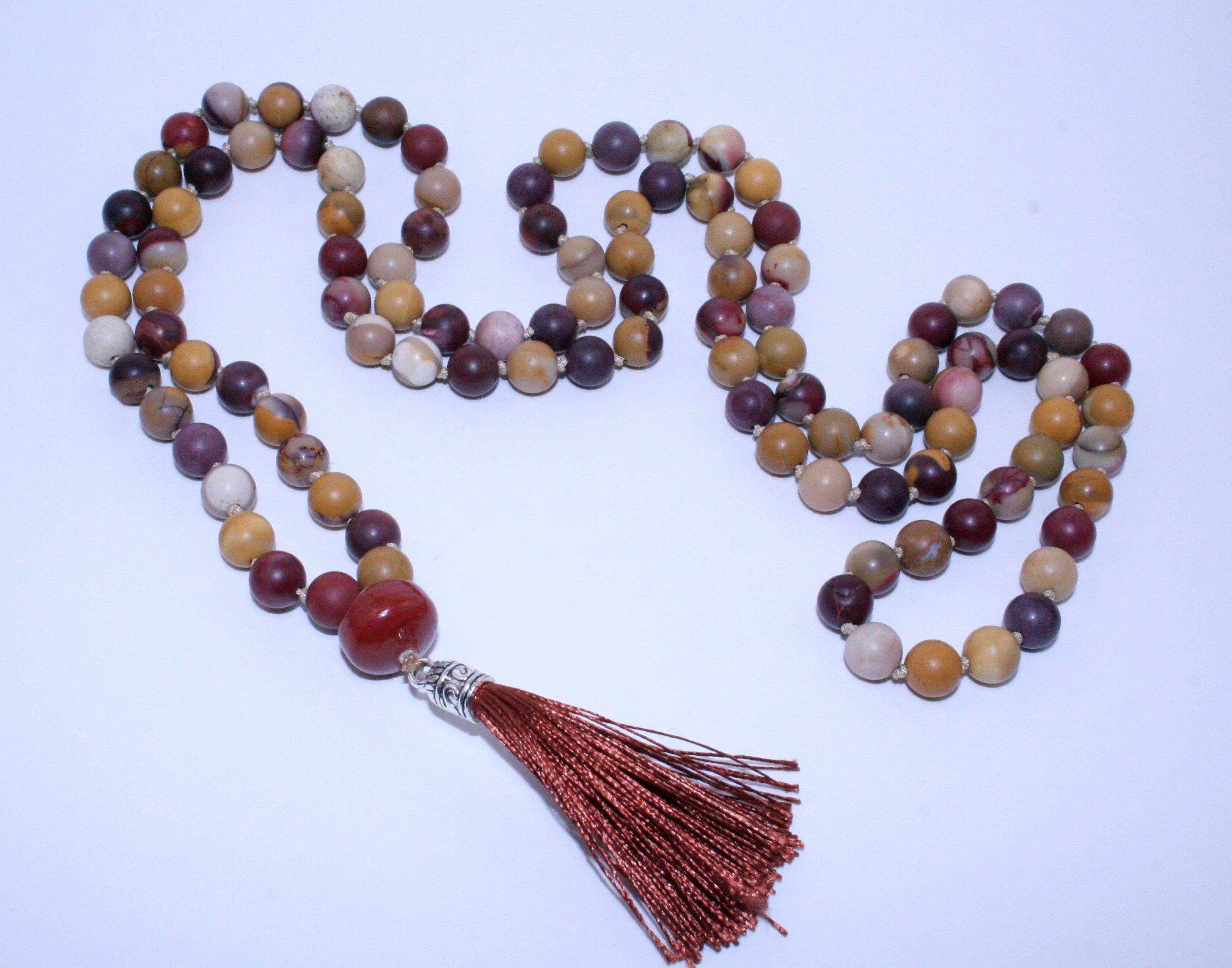 Jasper Mala w/ Guru Bead and Brown Tassel