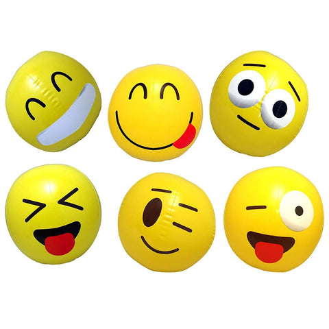 12 Inflatable Emoji Beach Balls (12 with Air Pump)