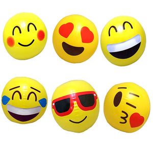 12 Inflatable Emoji Beach Balls (12