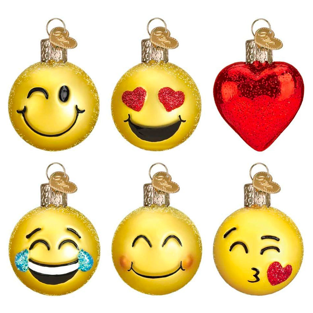 Mini Emoji Christmas Ornament Set