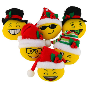 Plush Emoji Hanging Christmas Tree Ornament Set