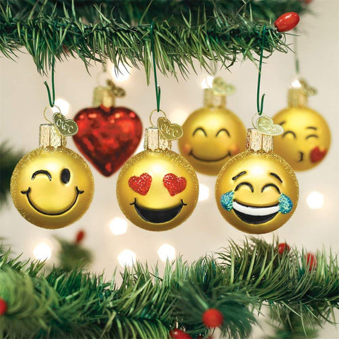 Image of Mini Emoji Christmas Ornament Set