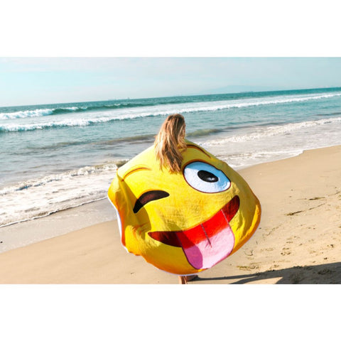 Image of Giant Crazy Face Emoji 5 Ft. Beach Towel