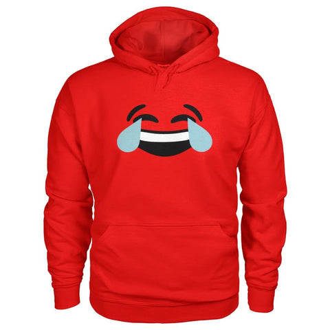 Crying Laughing Face Hoodie - Red / S - Hoodies