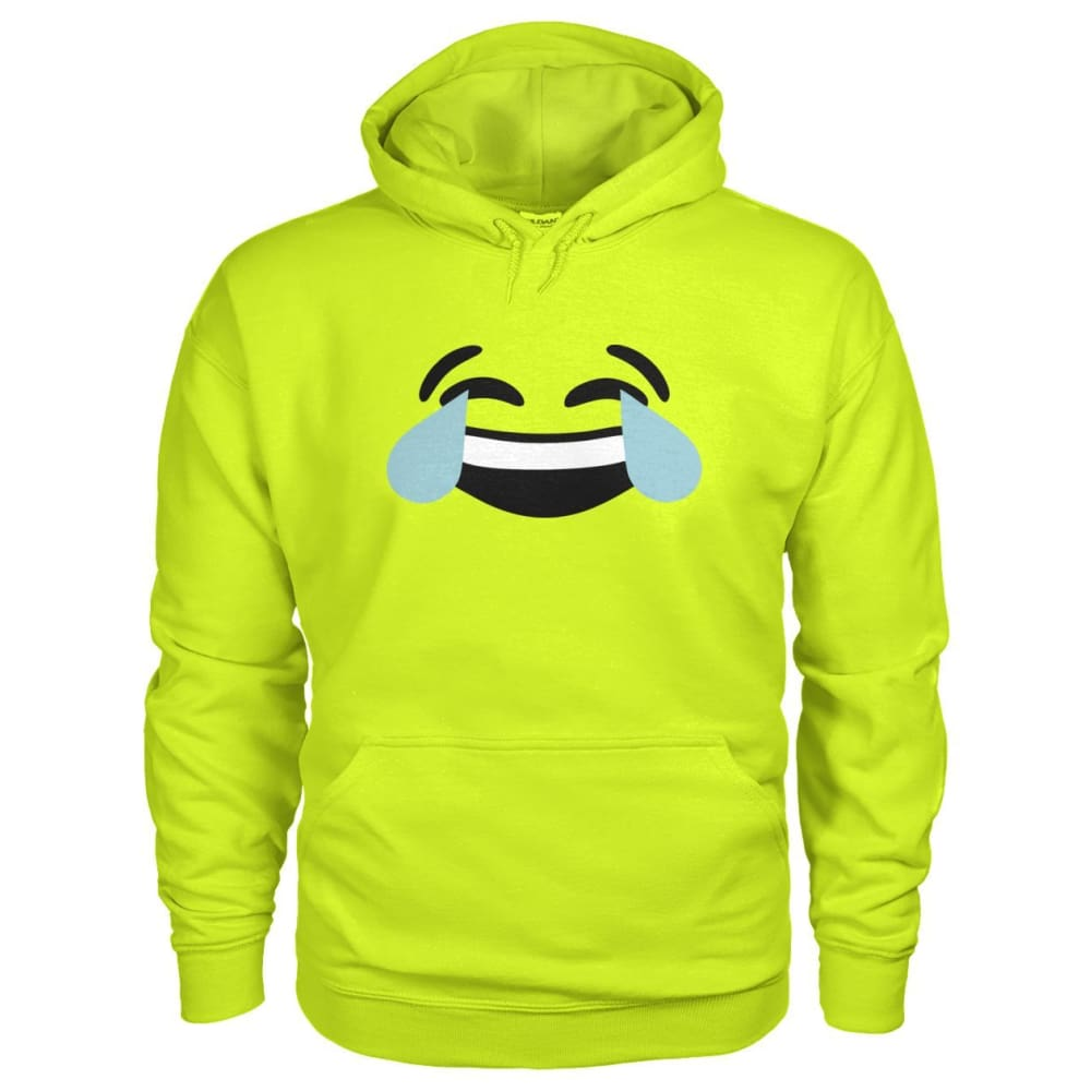 Crying Laughing Face Hoodie - Safety Green / S - Hoodies