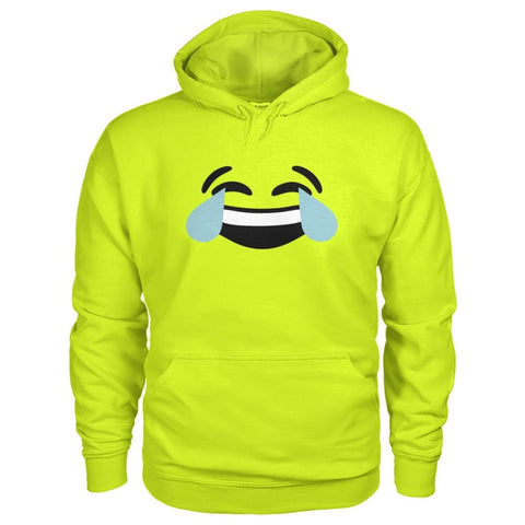 Image of Crying Laughing Face Hoodie - Safety Green / S - Hoodies