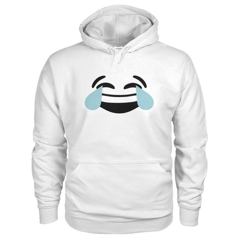 Crying Laughing Face Hoodie - White / S - Hoodies