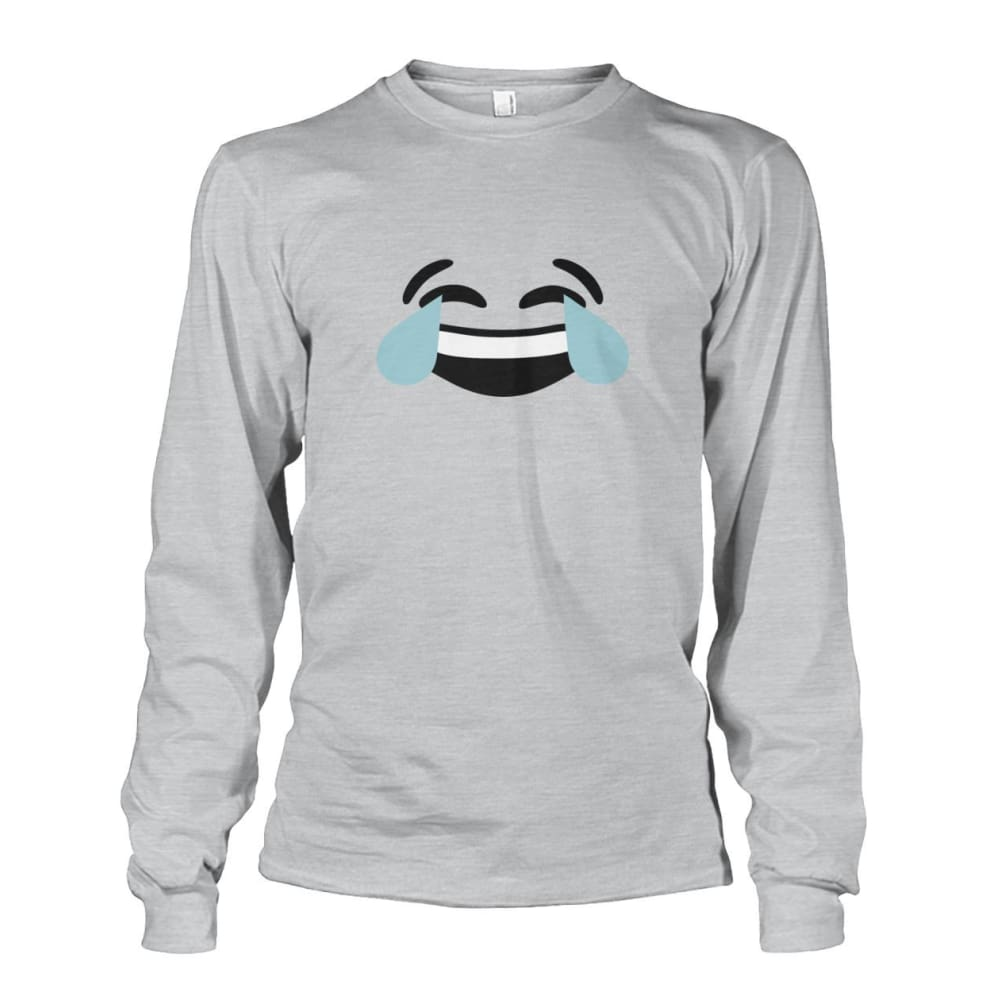 Crying Laughing Face Long Sleeve - Ash Grey / S - Long Sleeves