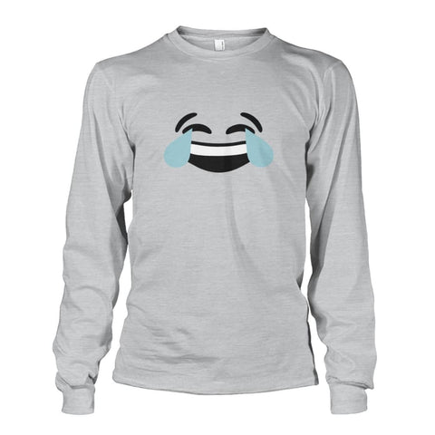 Image of Crying Laughing Face Long Sleeve - Ash Grey / S - Long Sleeves
