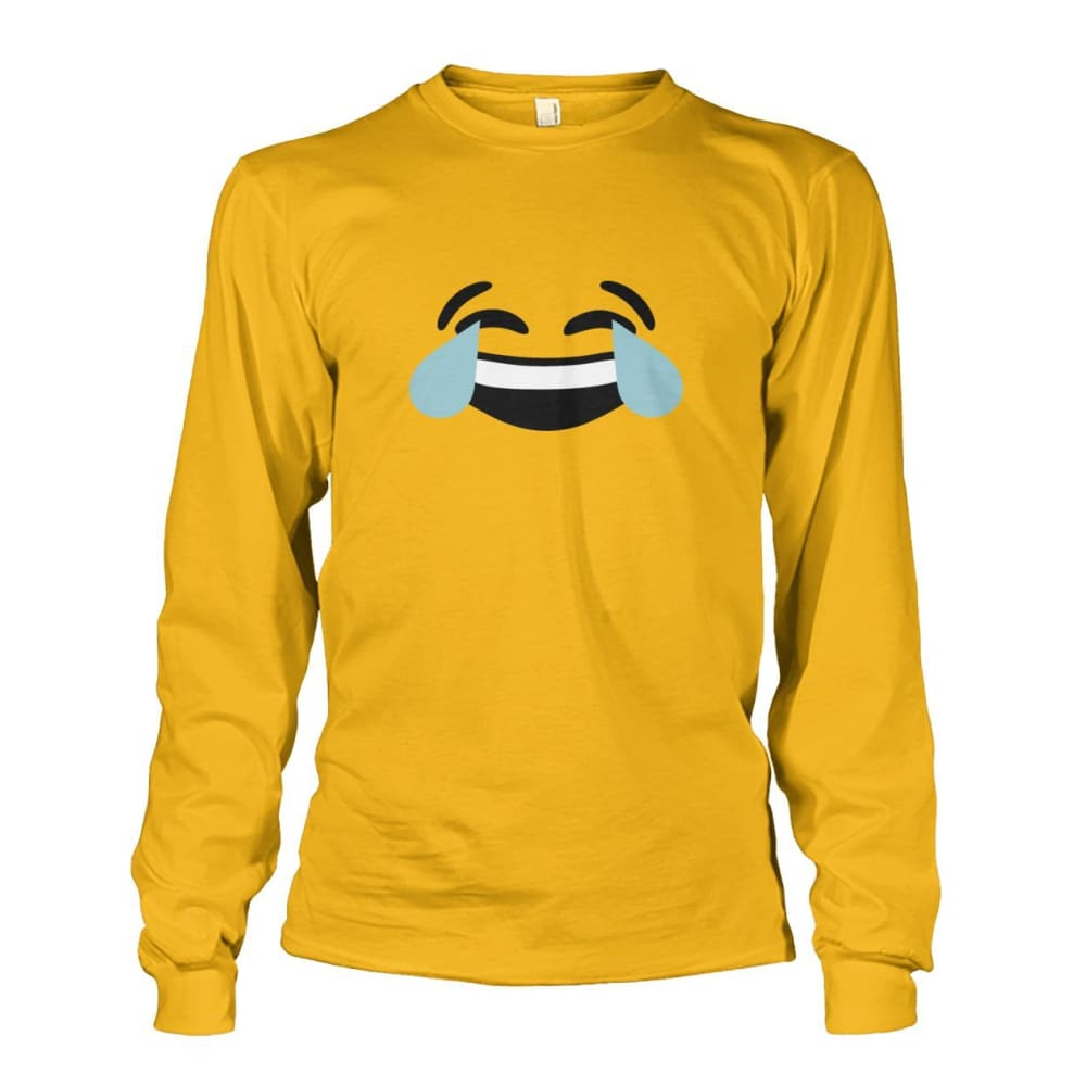 Crying Laughing Face Long Sleeve - Gold / S - Long Sleeves