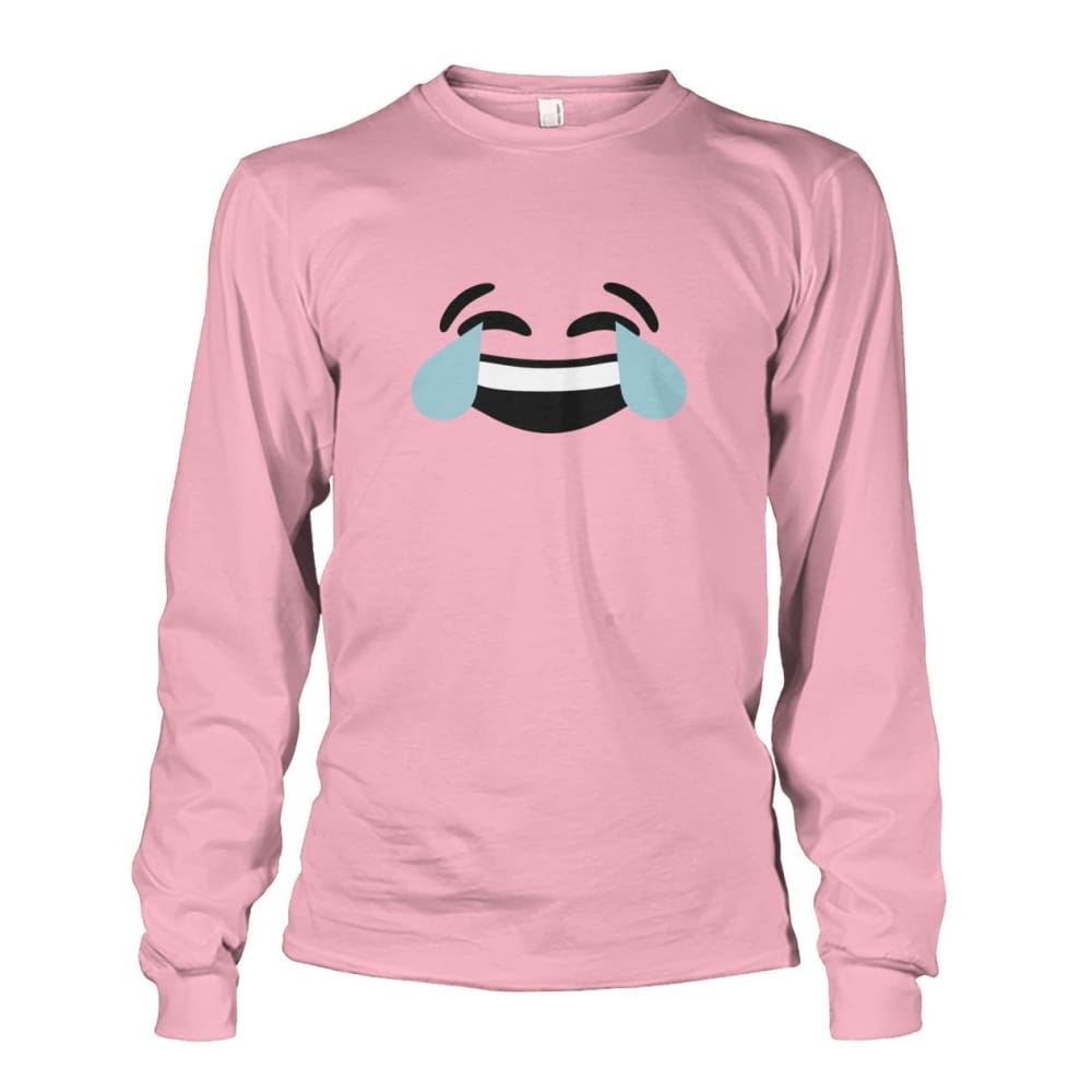 Crying Laughing Face Long Sleeve - Light Pink / S - Long Sleeves