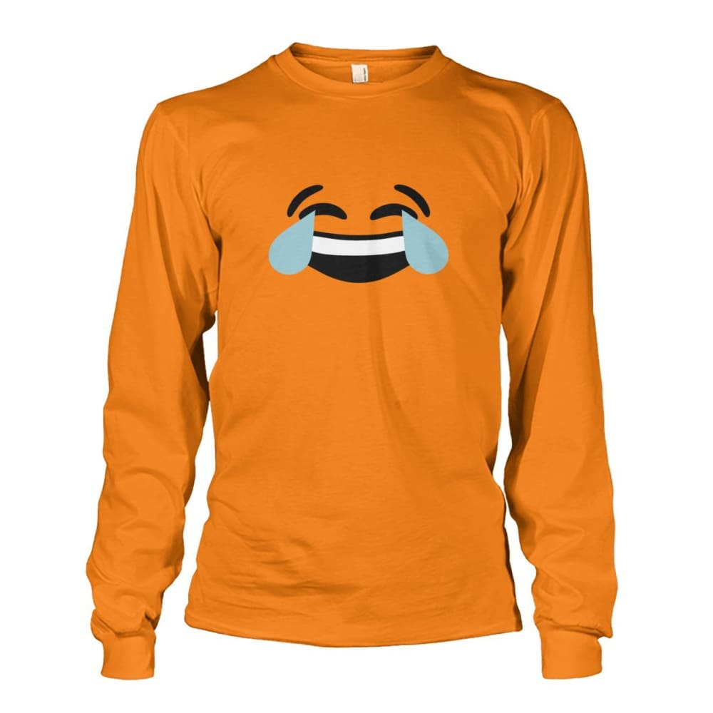 Crying Laughing Face Long Sleeve - Safety Orange / S - Long Sleeves