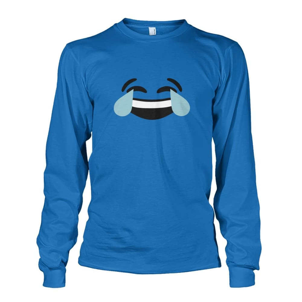 Crying Laughing Face Long Sleeve - Sapphire / S - Long Sleeves