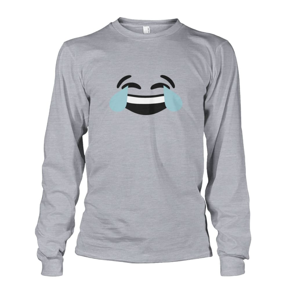 Crying Laughing Face Long Sleeve - Sports Grey / S - Long Sleeves
