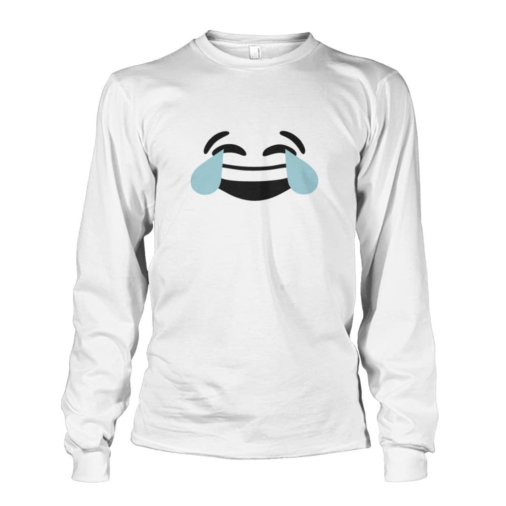 Crying Laughing Face Long Sleeve - White / S - Long Sleeves