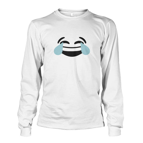Image of Crying Laughing Face Long Sleeve - White / S - Long Sleeves