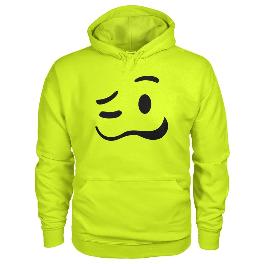 Drunk Face Hoodie - Safety Green / S - Hoodies