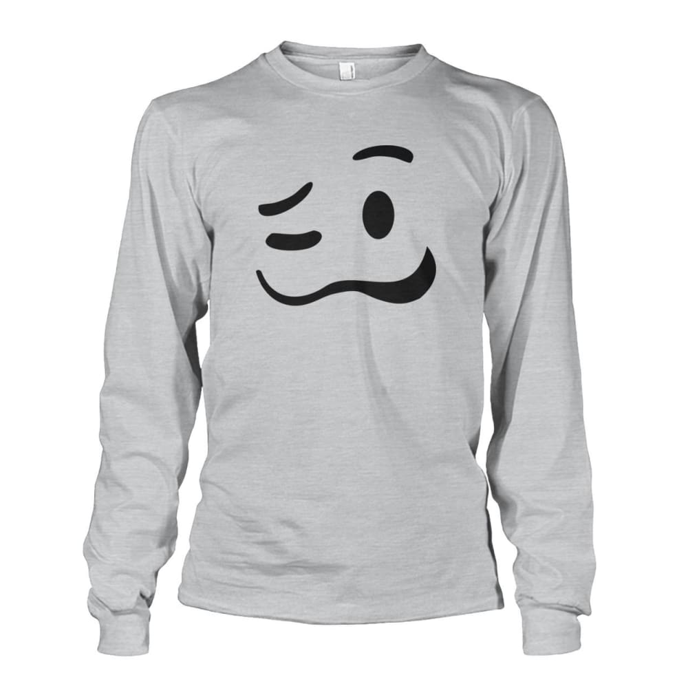 Drunk Face Long Sleeve - Ash Grey / S - Long Sleeves