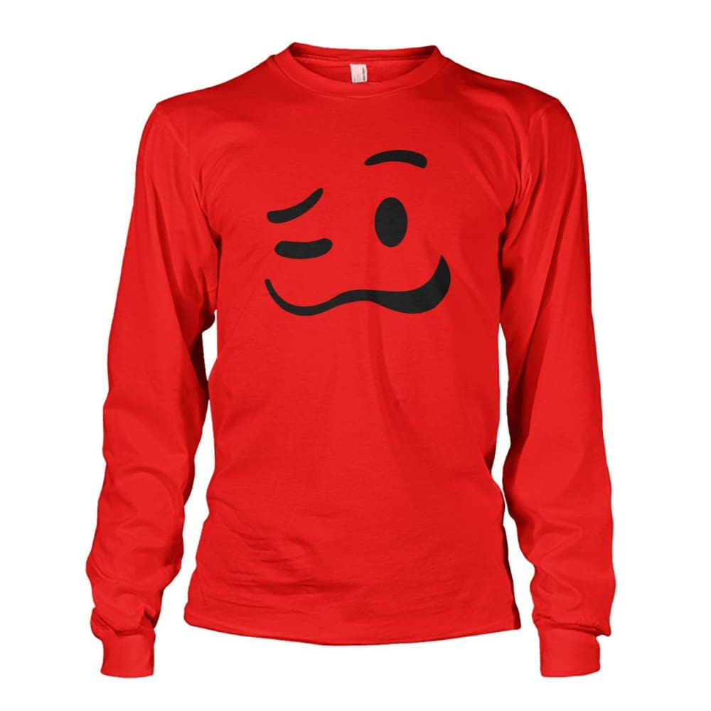 Drunk Face Long Sleeve - Red / S - Long Sleeves