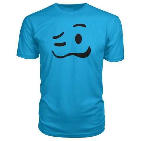 Image of Drunk Face Premium Tee - Carribean Blue / S - Short Sleeves