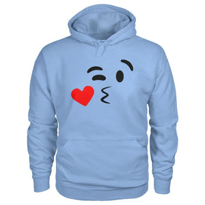 Kissing Face Hoodie - Light Blue / S - Hoodies