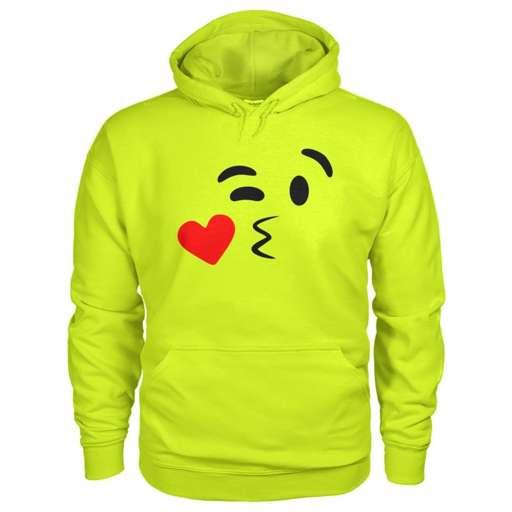 Kissing Face Hoodie - Safety Green / S - Hoodies