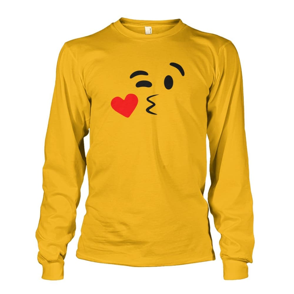 Kissing Face Long Sleeve - Gold / S - Long Sleeves