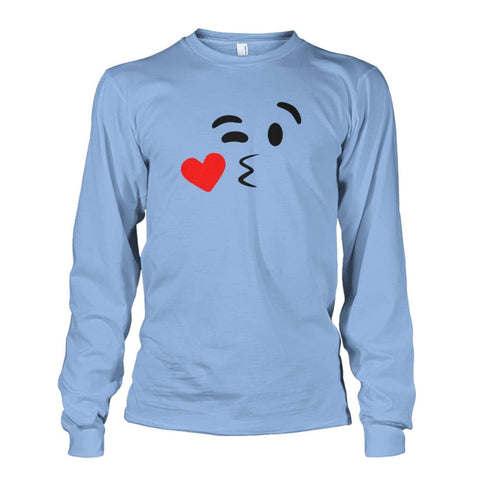 Image of Kissing Face Long Sleeve - Light Blue / S - Long Sleeves