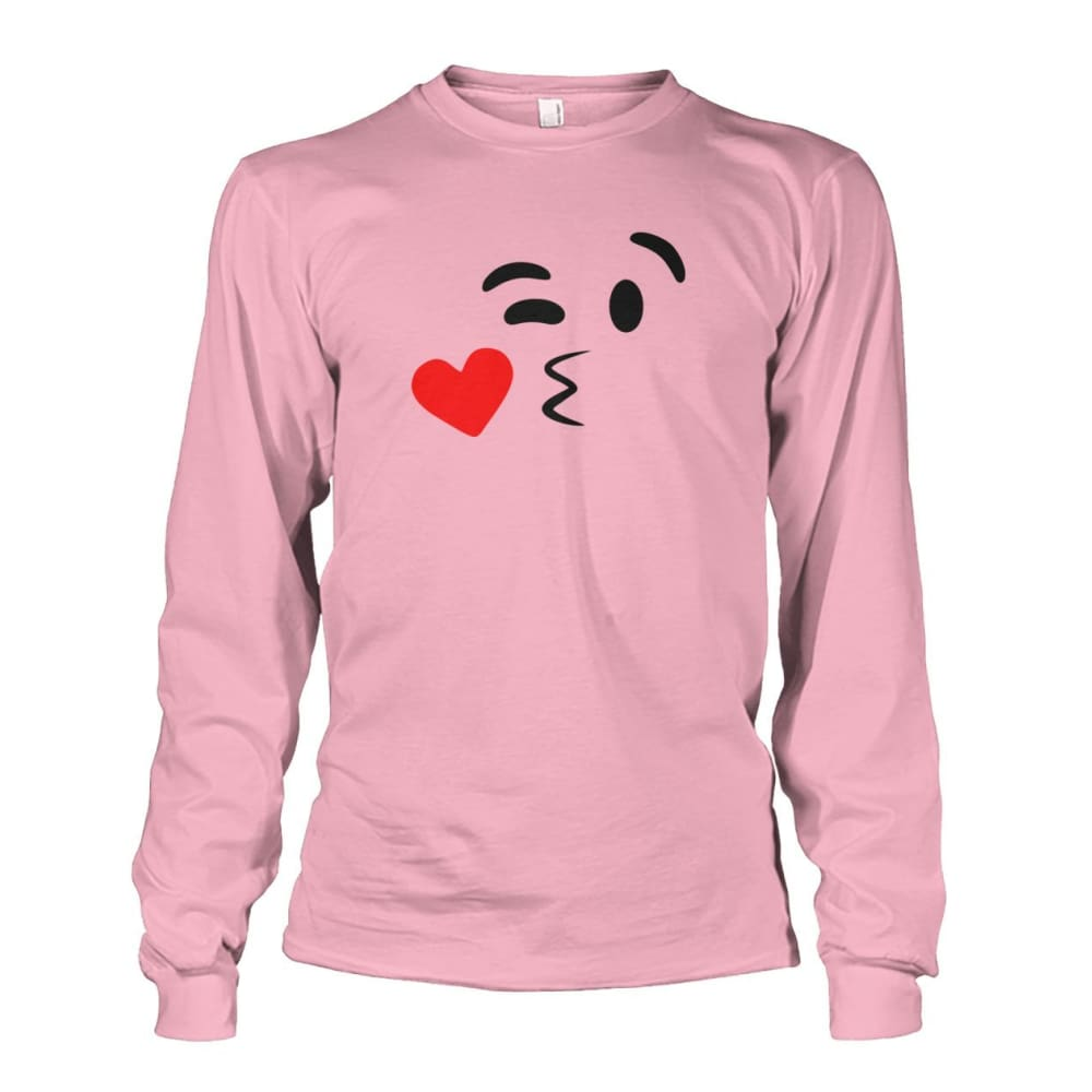 Kissing Face Long Sleeve - Light Pink / S - Long Sleeves