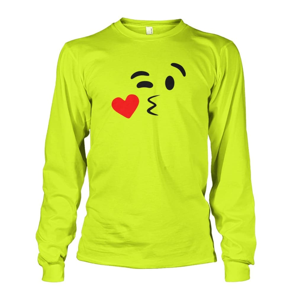 Kissing Face Long Sleeve - Safety Green / S - Long Sleeves