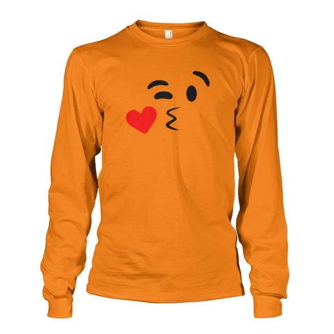 Image of Kissing Face Long Sleeve - Safety Orange / S - Long Sleeves