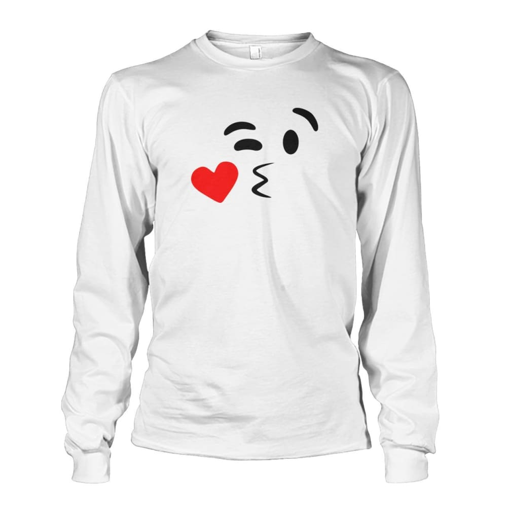 Kissing Face Long Sleeve - White / S - Long Sleeves