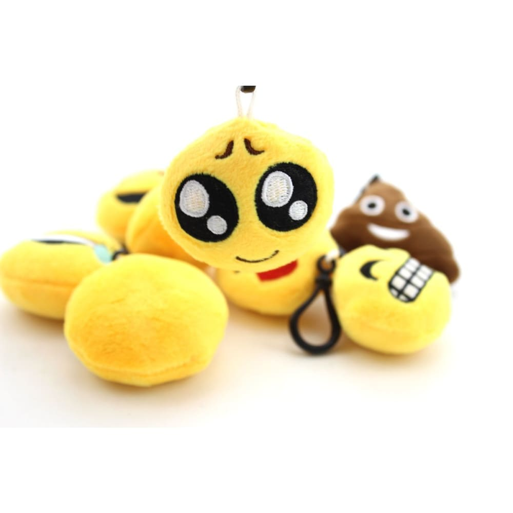 Mini Emoji Plush Key Chains Set