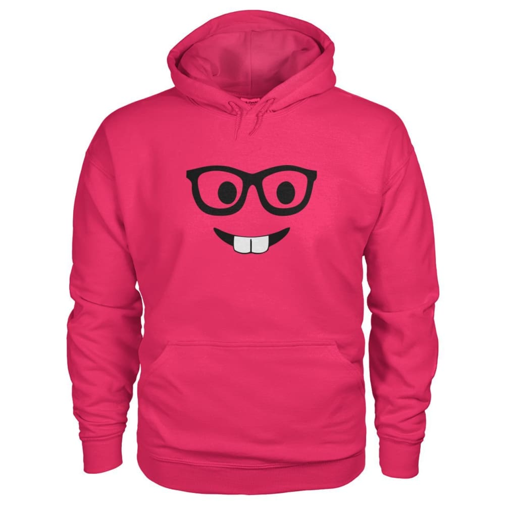 Nerdy Face Hoodie - Heliconia / S - Hoodies