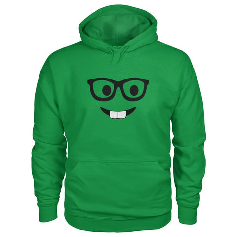 Nerdy Face Hoodie - Irish Green / S - Hoodies