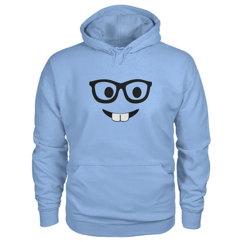 Nerdy Face Hoodie - Light Blue / S - Hoodies