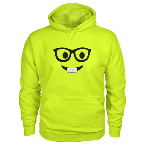 Nerdy Face Hoodie - Safety Green / S - Hoodies