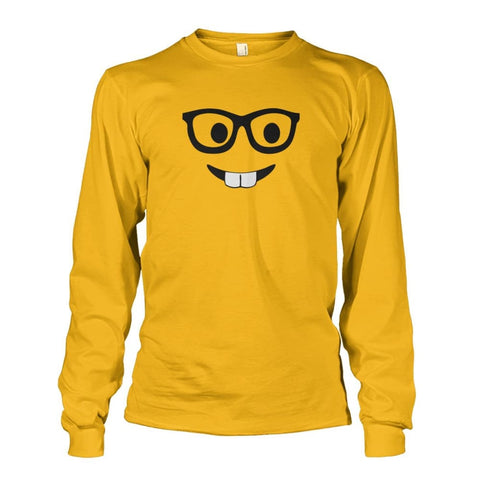 Image of Nerdy Face Long Sleeve - Gold / S - Long Sleeves