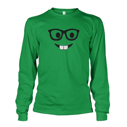 Image of Nerdy Face Long Sleeve - Irish Green / S - Long Sleeves