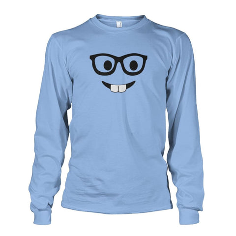 Nerdy Face Long Sleeve - Light Blue / S - Long Sleeves